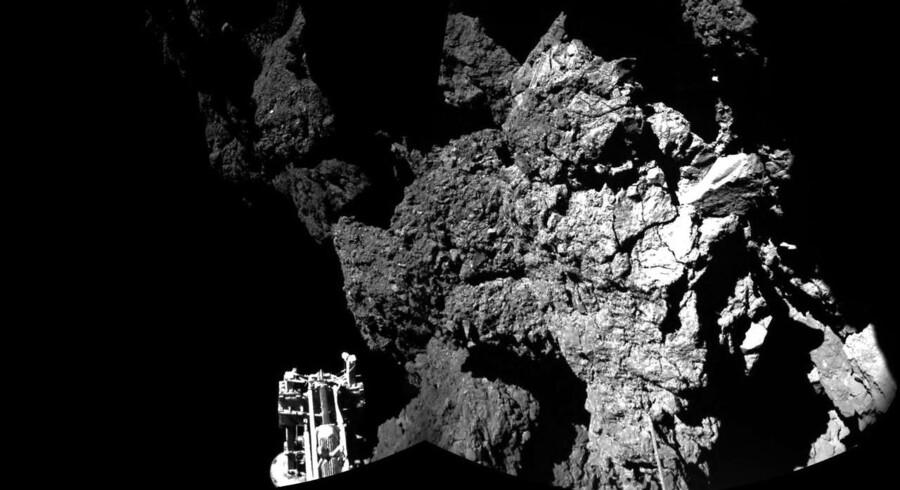 Et billede af kometen taget fra rumfartøjet Philae i november 2014.