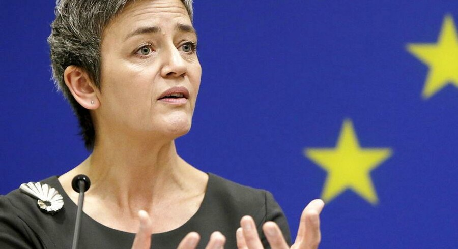 European Union Commissioner for Competition, Margrethe Vestager, holds a news conference at the EU Delegation in Washington April 16, 2015. The EU accused Google Inc. on Wednesday of cheating consumers and competitors by distorting web search results and also launched an antitrust probe into the internet search giant's Android system. REUTERS/Gary Cameron