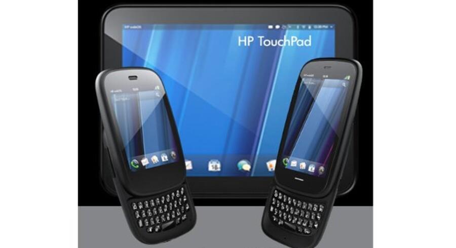 HPs to nye telefoner med WebOS som styresystem: Veer og Pre3 samt HPs første tavlecomputer, TouchPad. Foto. HP
