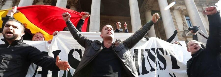 En demonstration måtte fordrives med vandkanoner i Bruxelles søndag.