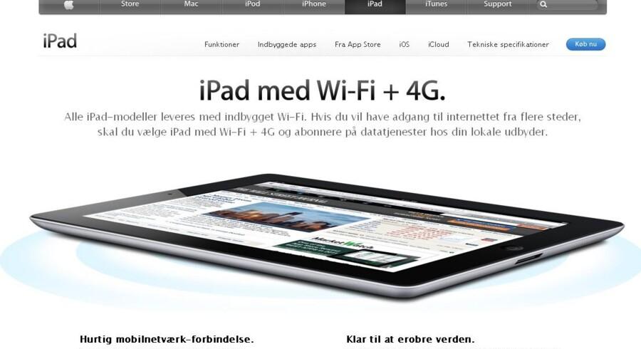 Også i Danmark hævdede Apple længe i sine annoncer, at iPad 3 fungerede på 4G-mobilnettene.