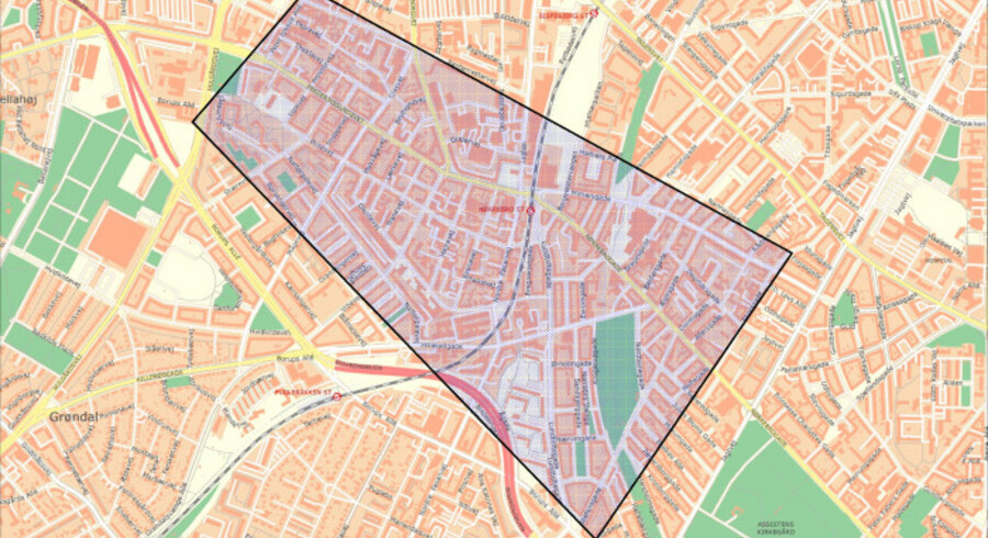 Overgrebene er sket i et afgrænset område af København, som her er skitseret på Politiets kort.
