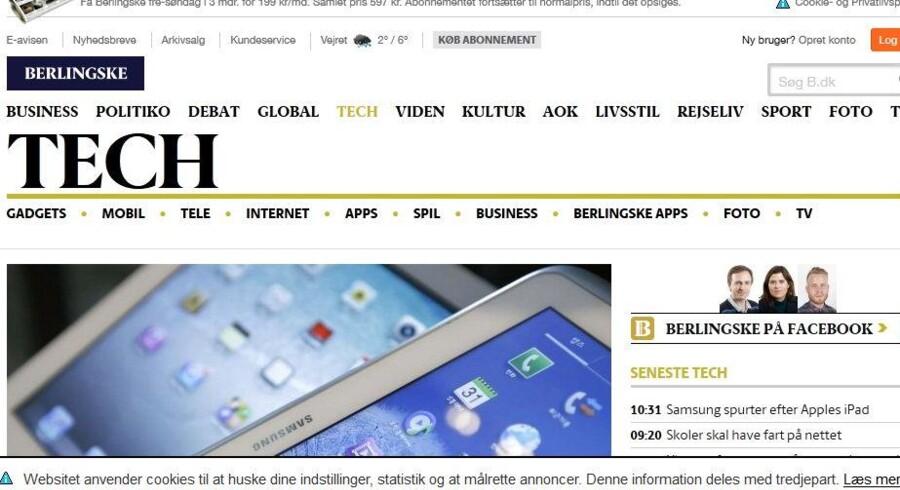 På alle danske hjemmesider skal det tydeligt fremgå - som her med en kasse i bunden på B.dk -, hvis netstedet bruger cookier, som man vil lagre på folks mobiltelefon, tavle-PC eller PC. Og man skal aktivt svare ja til at ville modtage cookier, før det må ske.