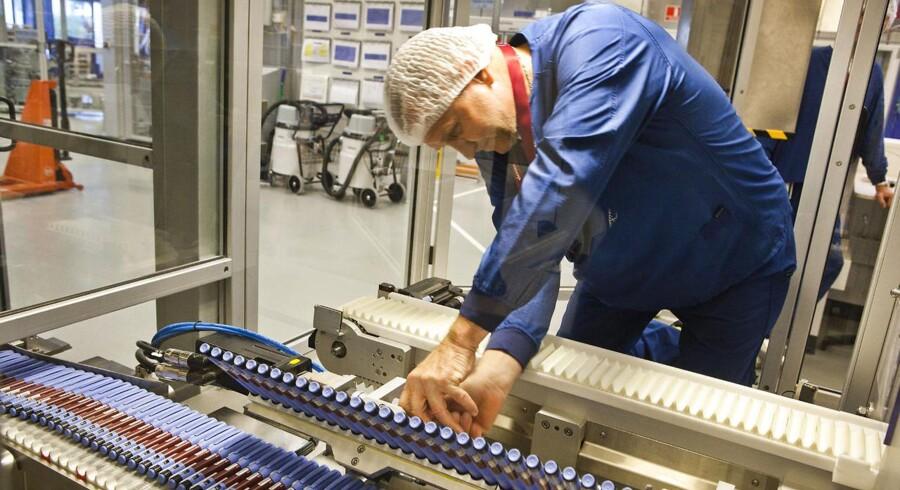 Novo Nordisks fabrik i Kalundborg. Novo Nordisks nye lægemiddel mod type 2-diabetes, Victoza, trækker en stor del af væksten i dansk eksport. Pakkeriet.