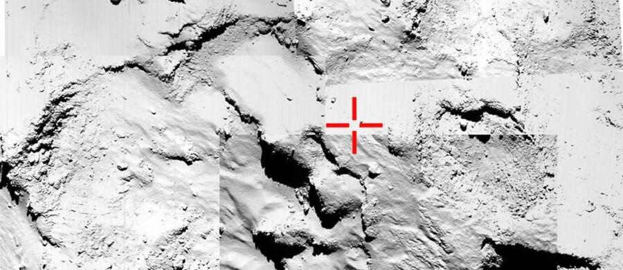 En montage af billeder bliver brugt til at identificere det endelige landested for Rosettas lander, Philae.