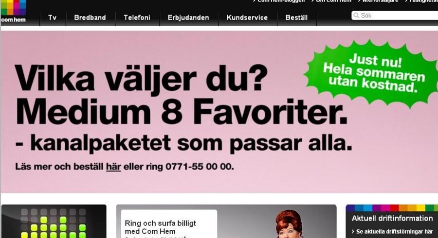Det svenske kabel-TV-selskab Com Hem er sat til salg.