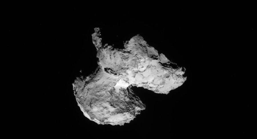 Arkivfoto. Et pressebillede udleveret af den Europæiske Rumorganisation, viser kometen 67P/Churyumov-Gerasimenko som set fra Rosetta rumfartøjet. På billedet, der er taget den 12 august, er kometen cirka 105 km væk.
