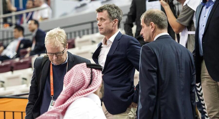Kronprins Frederik under håndbold-VM i Qatar.