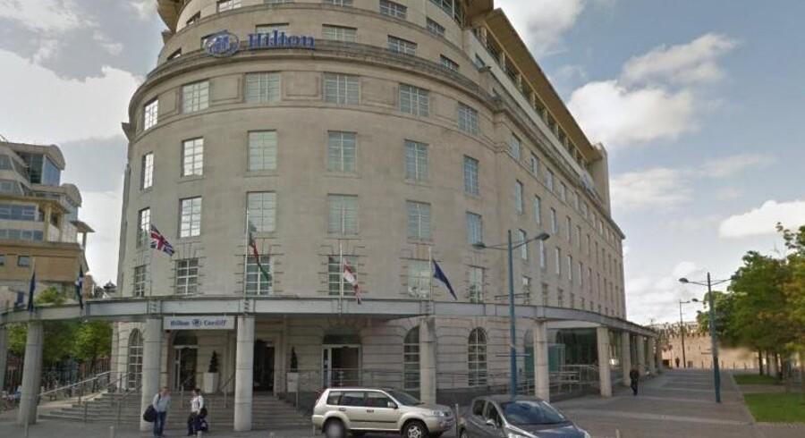 Cardiffs luksuriøse Hilton hotel, hvor forretningsmanden James Robinson valgte at gøre en god gerning og booke to overnatninger til et hjemløst par.