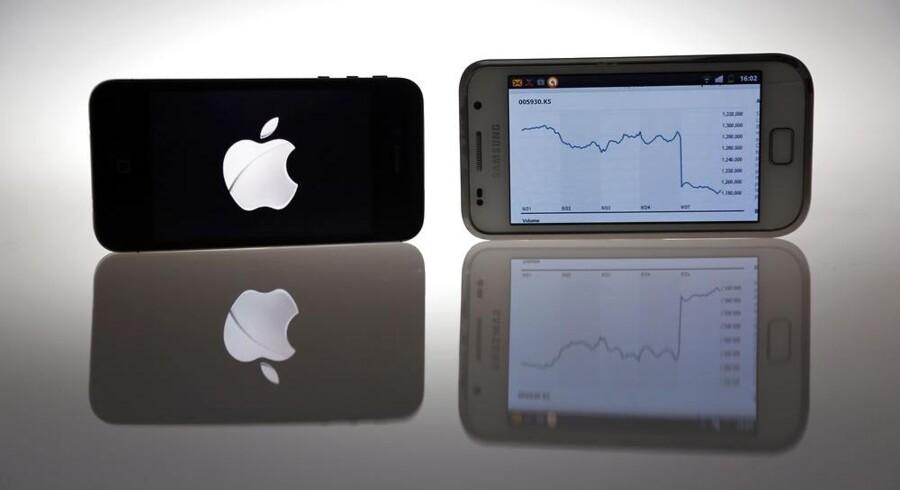 Antallet af slagsmål mellem mobilgiganterne Apple og Samsung er nu blevet mindre. Arkivfoto: Pawel Kopczynski, Reuters/Scanpix
