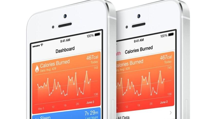 Apple satser stort på at komme med på sundhedsbølgen, når de nye produkter med bl.a. en iPhone 6 og et smart ur snart lanceres. Men nu sætter Apple stramme regler op for, hvilke sundhedsoplysninger der må trækkes ud af Health-applikationen. Foto: Apple