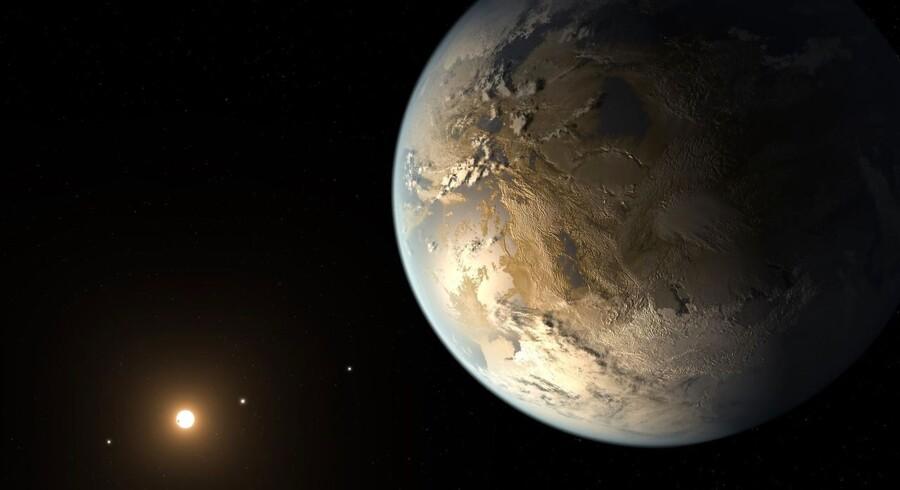 En kunstners bud på hvordan en Exoplanet kan se ud. Her er det planeten Kepler-186f der er blevet skitseret.