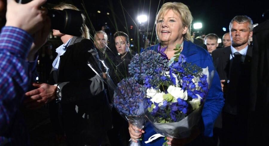 Norges kommende statsminister, Erna Solberg, vil sælge ud af statens mange aktieposter. Foto: Aleksander Andersen, NTB/AFP/Scanpix