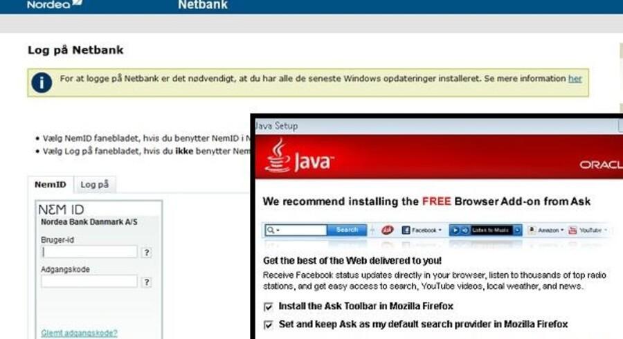 Forleden blev også Nordeas netbank Java-fri, sådan som en række andre banker allerede er det. Til højre ses årsagen til, at man pludselig får ændret sin startside og får en uvelkommen ekstra linie i sit internetprogram: Under installationen af Java-programmet har ejeren, IT-giganten Oracle, valgt at installere det udskældte Ask.com-program, medmindre man selv aktivt vælger det fra ved at fjerne hakkerne, inden man fortsætter installationen af Java.