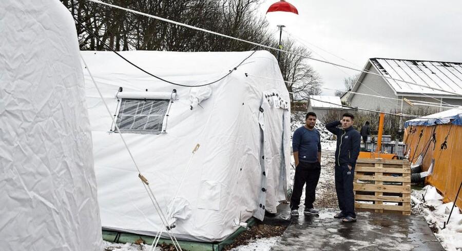 Den nyoprettede flygtningelejr hos Beredskabscenter Thisted. Lejren består af små lejligheder i gymnastiksalen, diverse rum og telte. Her ses teltpladsen.