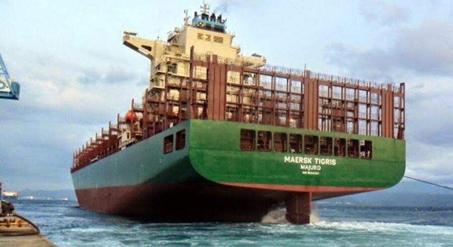 Mærsk Tigris kom i store problemer på sin vej gennem Hormuzstrædet, som leder ind til Den Persiske Golf, da de iranske myndigheder beslaglagde fragtskibet efter at have affyret varselsskud. Arkivfoto: Scanpix
