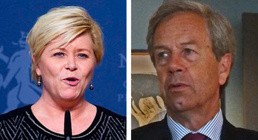 Siv Jensen, norsk finansminister og den norske centralbankchef, Øystein Olsen.
