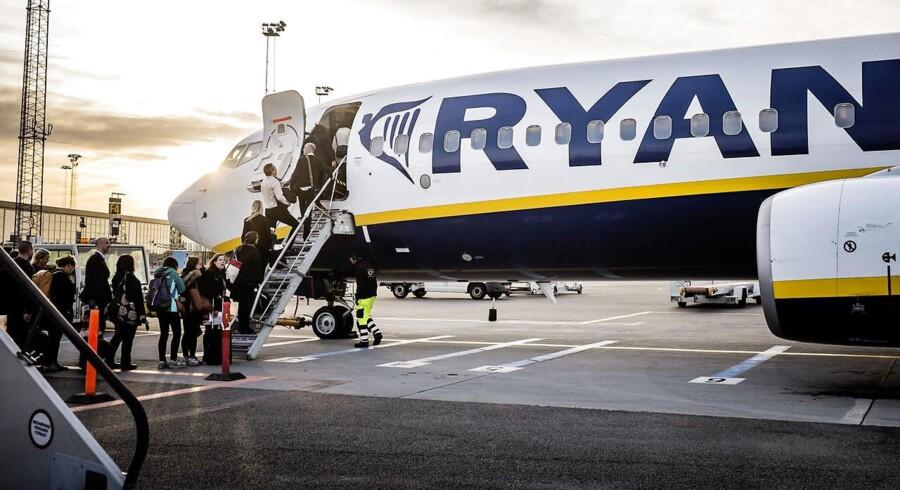 Ryanair vil udvide sin tilstedeværelse i Danmark markant. Det sker med et større vinterprogram. Arkivfoto.