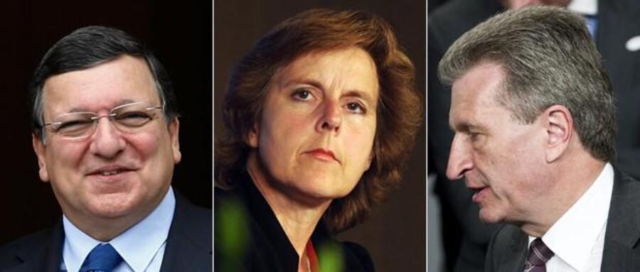 José Manuel Barroso, Formand for EFkommissionen, Portugal (Højre) - Connie Hedegaard, Klimakommissær, Danmark (Midt) - Günther Oettinger, Energikommissær, Tyskland (Venstre).