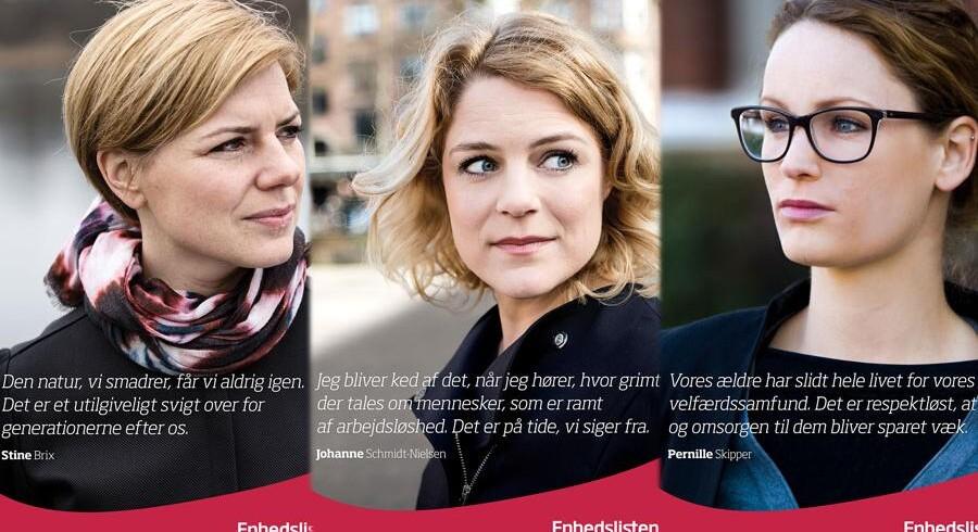 Enhedslistens nye plakter. Fra venstre: Stine Brix, Johanne Schmidt-Nielsen og Pernille Skipper. Foto: Enhedslisten.