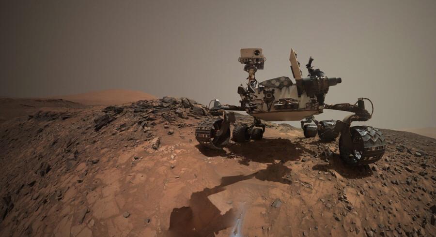 Mars-køretøjet Curiosity har begået denne selfie. Det har vist sig stort set umuligt at rense robotter og instrumenter for jordiske bakterier. Derfor er der en risiko for, at de mikrobielle tegn på liv, som forskerne måtte blotlægge på Mars, i realiteten er bragt med fra Jorden. Foto: NASA