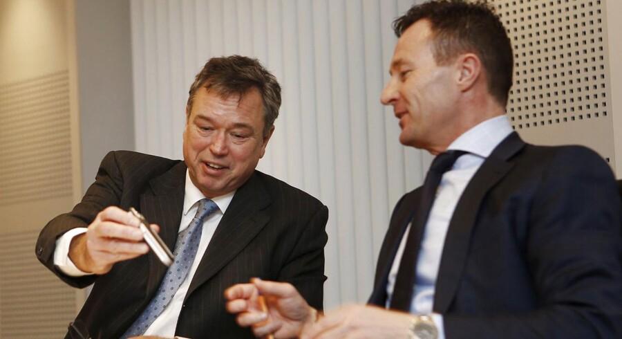 Arkivfoto. Novozymes offentliggør årsregnskabet for 2014. Til venstre adm. direktør Peder Holck og til højre finansdirektør Benny Loft.