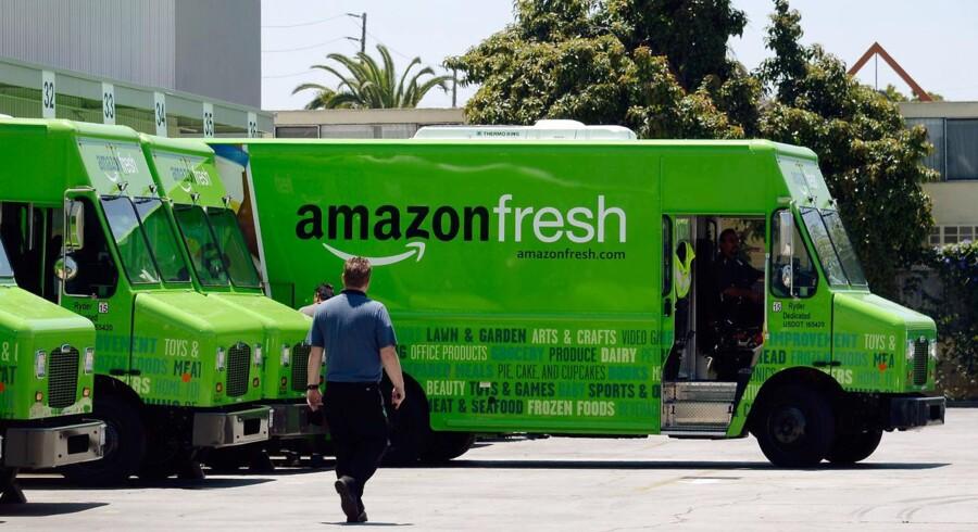 Amazon er i dag også dagligvarekæde og leverer friske grøntsager m.m. ud i de store byer. Arkivfoto: Kevork Djansezian, AFP/Scanpix