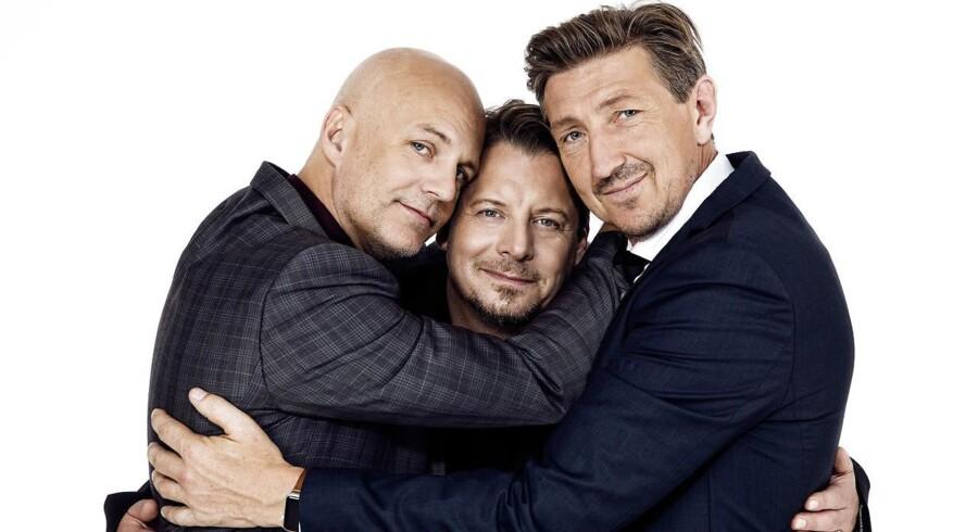 "Troels Lyby, Anders W. Berthelsen og Nicolaj Kopernikus forlader sig på charmen i comedy-showet ""Ingen panik!"". Foto: PR:"