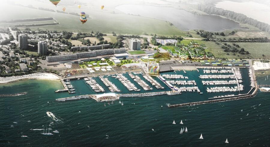 Et vue over den olympiske sejlsportsby Kiel, sådan som den danske tegnestue Schulze + Grassov forestiller sig scenariet. Inden planerne bliver til virkelighed, skal Hamborg og Kiel lige vinde værtskabet for sommer-OL i 2024.