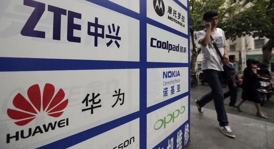 De kinesiske leverandører af teleudstyr, Huawei og ZTE, er kommet i EUs søgelys. EU-Kommissionen anser dem som en mulig sikkerhedsrisiko og som en trussel mod deres europæiske konkurrenter, fordi de takket være statsstøtte underbyder dem. Foto: Reuters/Scanpix