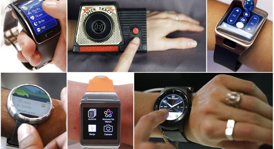 Allerede i 1960erne havde detektiven Dick Tracy sit eget smartur (i midten øverst). Først senere kom designerne ind over...! Her ses det (i retning med uret) sammen med Samsung Gear S, Samsung Gear 2, Motorola Moto, Samsung Galaxy Gear og LG G Watch R. Foto: Reuters/Scanpix