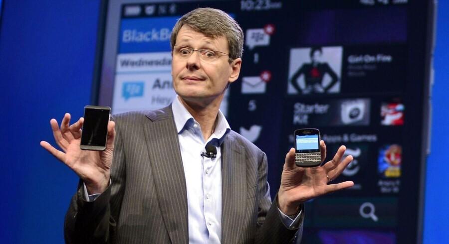 Blackberry vil ifølge The New York Times annonceret, at selskabet vil stoppe produktionen af to ud af seks telefoner, som i dag er på markedet. Her ses topchef Thorsten Heins.