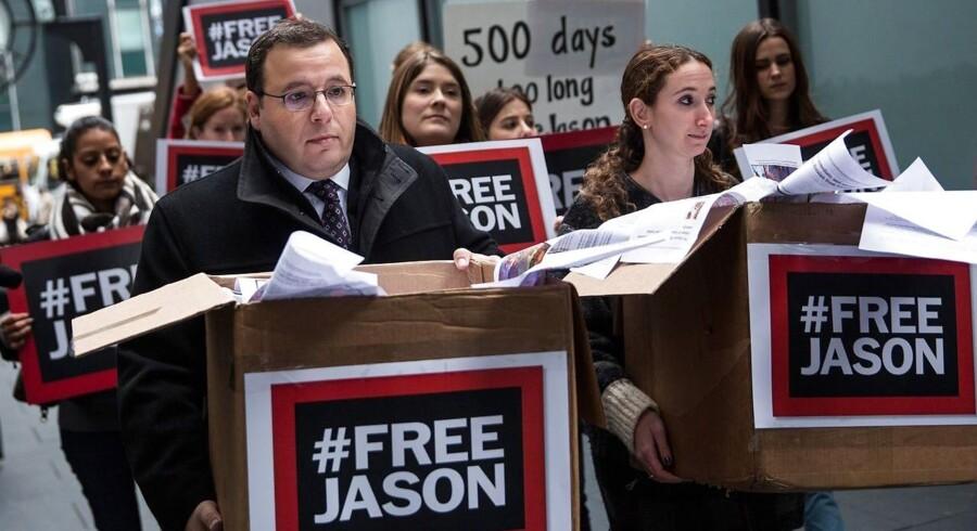 Ali Rezaian, bror til Washington Post-journalist Jason Rezaian, som har siddet fængslet i Iran i 500 dage, protesterer i starten af december mod den fortsatte fængsling.