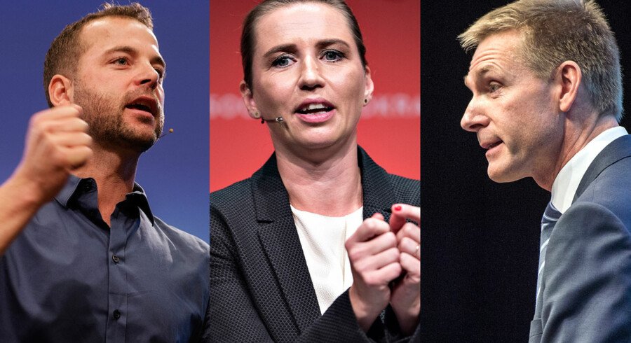 De tre formænd, der lørdag holdt taler for henholdsvis Radikale, Socialdemokraterne og Dansk Folkeparti: Morten Østergaard, Mette Frederiksen og Kristian Thulesen Dahl.