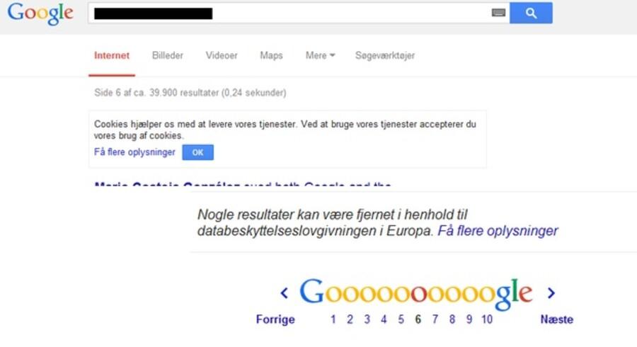 Google noterer nu nederst på sin resultatliste, at visse resultater kan være fjernet efter EU-Domstolens afgørelse.