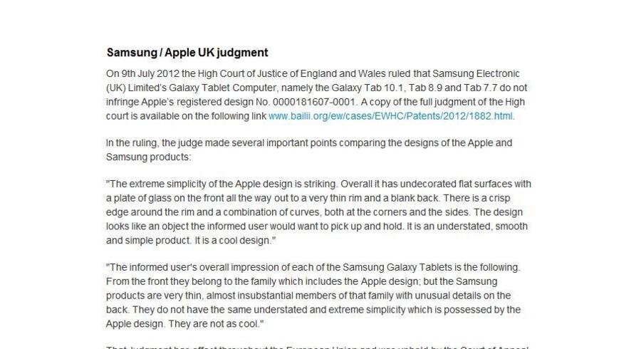 Apples tekst, som på www.apple.com/uk skal forklare, at Samsung ikke har kopieret iPad-designet i sin Galaxy Tab 10.1, er ikke i orden, mener en britisk dommer, som kræver den ændret inden for 24 timer.