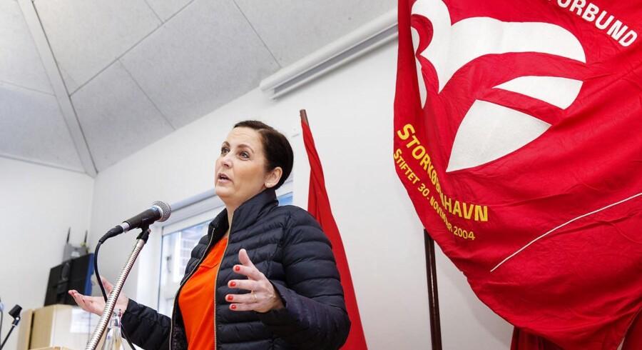 Formand for SF Pia Olsen Dyhr taler for 3F Storøbenhavn ved et morgenmøde i Ballerup.