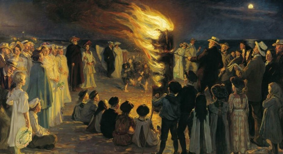 """P.S. Krøyers """"Sankt Hansblus på Skagen Strand"""", der hænger på Skagens Museum, er nu også en del af Google Art Projects samling. Billedet kan opleves i gigapixel opløsning, der gør det muligt at gå helt tæt på penselstrøgene og se sandkorn i malingen."""
