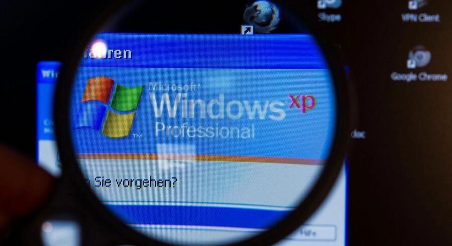 De mange danskere, der stadig har computere med Windows XP som styresystem, begynder nu for alvor at mærke, at Microsoft i april holdt op med at opdatere systemet. Om en måned rammes alle, der bruger netbank og digital post. Arkivfoto: Jens Büttner, EPA/Scanpix