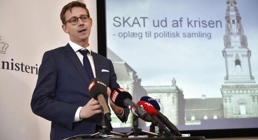 Pressemøde i Skatteministeriet med Skatteminister Karsten Lauritzen. Skatteministeren fremlægger handlingsplan for SKAT. (Foto: Jens Nørgaard Larsen/Scanpix 2015)