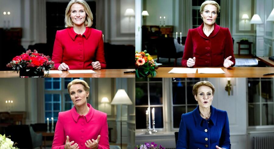 Fire nytårstaler med statsminister Helle Thorning-Schmidt (S) ved skrivebordet.