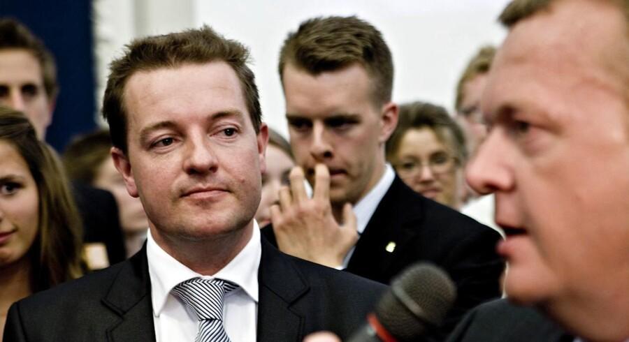Valgaften på Christiansborg søndag 7. juni 2009, Venstres spidskandidat, Jens Rohde (tv) og statsminister Lars Løkke Rasmussen.
