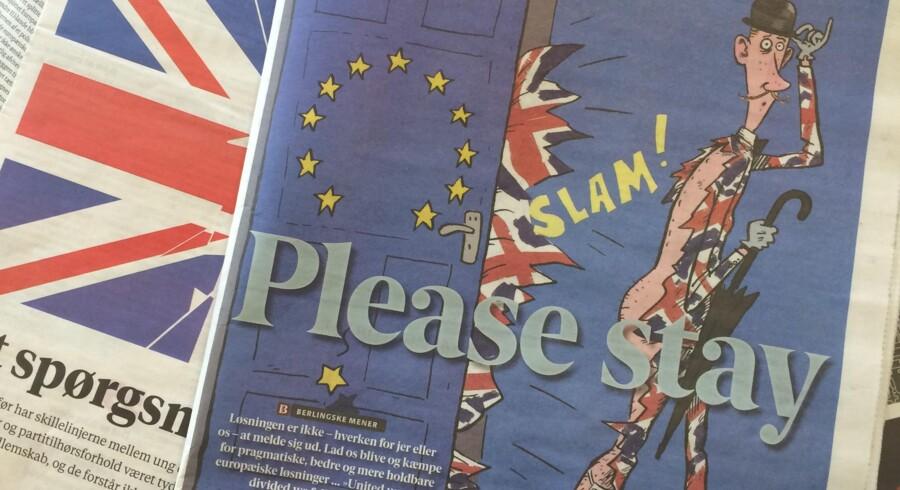 Forsiden af Berlingske er i dagens anledning akkompagneret af en ærbødig appel til vores britiske naboer.