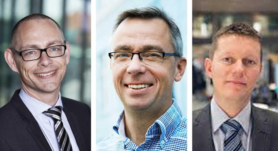 Tre økonomer giver deres bud på hvad der er i vente i aktieåret 2016. Det er Michael Borre, chefrådgiver, Nordea (tv.) og Per Hansen, investeringsøkonom, Nordnet (mf.) samt Jacob Graven, cheføkonom, Sydbank (th.).