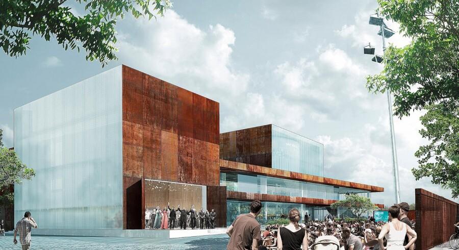 Det 4.200 kvadratmeter store Vendsyssel Teater og Oplevelseshus ventes færdigt til efteråret og åbner officielt i januar 2017. Illustration: Schmidt Hammer Lassen Architects.