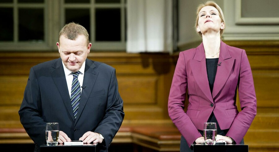 Flertallet af brugerne på Politiko.dk tror på et tidligt folketingsvalg mellem hovedmodstanderne, Lars Løkke Rasmussen (V) og Helle Thorning-Schmidt (S). Her ses de to under valgkampen i 2011.