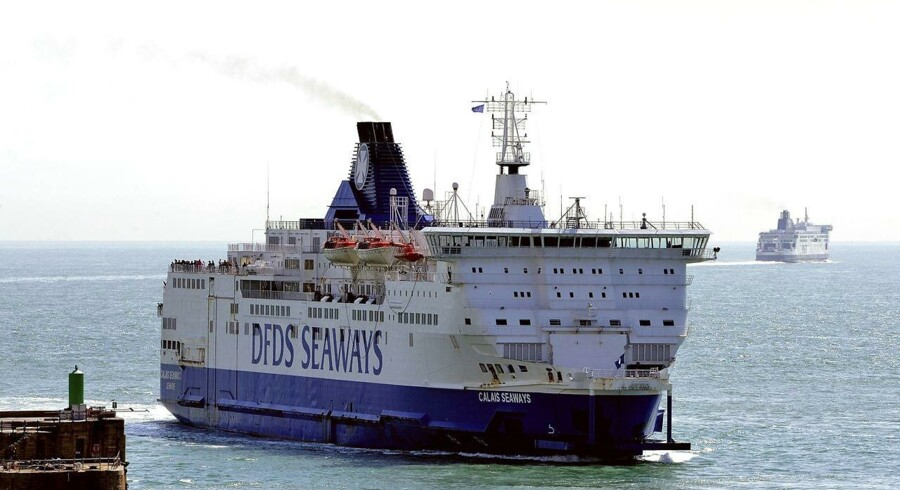 A DFDS company ferry named 'Dover Seaways' arrives in the port of Douvres, on August 20, 2013. AFP PHOTO / PHILIPPE HUGUEN