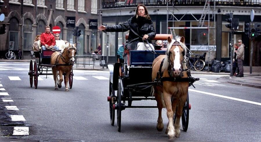 Under den bilfri weekend i Indre København i 2001 blev der taget alternative transportmidler i brug. Her hestevogne.