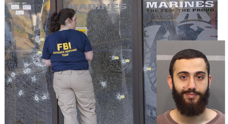 FBI-folk undersøger det gennemhullede militære rekrutteringscenter i Chattanooga, Tennessee, hvor 24-årige Mohammed Youssef Abdulazeez (lille billede) i sidste uge åbnede ild og nåede at dræbe fem soldater, inden politiet fik ram på ham.