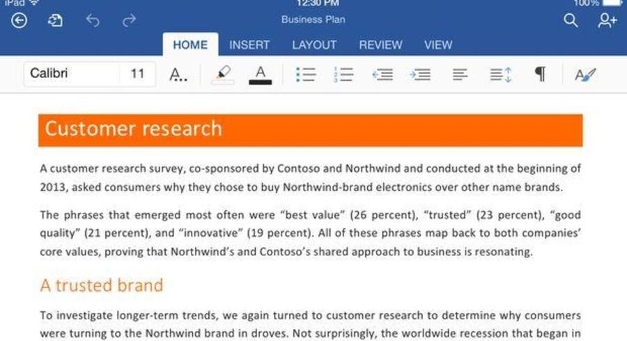 iPad-brugere får nu mulighed for også at redigere Word-, Excel- og PowerPoint-dokumenter og selv oprette nye, uden at der skal betales abonnement. Her et Word-dokument. Foto: Microsoft